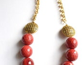 CLEARANCE- The Romy- Brick Red Glass and Gold Chain Necklace