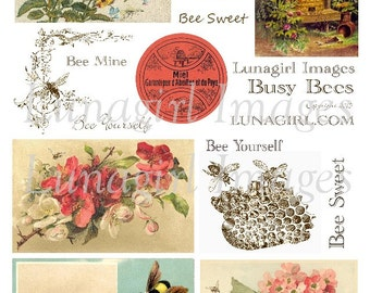 BEES digital collage sheet Download shabby vintage printables honeybee bumblebee flowers garden bugs beehive antique ephemera Victorian art