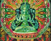 Guanyin Goddess of Compassion Psychedelic Goddess Art 5x7 Greeting Card