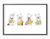 "Lucky Cat Art Print - ""Make Your Own Luck"" Illustration cats maneki neko Japanese unicorn  A4 / A3 / A5 / 8 x 10 giclee print"