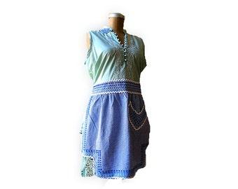 Apron Over Dress, Cotton, Hand Dyed, Cotton, Green, Blue, Vintage Apron, Rustic, Boho
