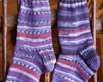 Hand Knit, Purple Striped Socks