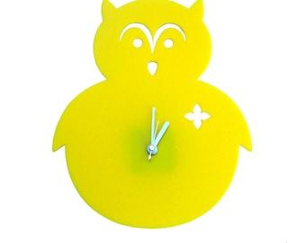 Sunny Flower Yellow Owl Wall Hanging Clock