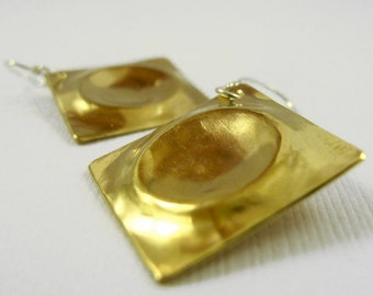 Brass Indention Earrings - Brass and Sterling Silver Earrings