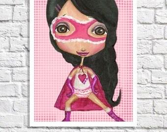 Girl Superhero Decor Little Girl Super Hero Print Hot Pink Nursery Art Picture For Girls Room Toddler Bedroom Decor Tween Artwork Girl Power