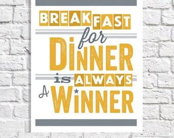 Retro Kitchen Art Breakfast For Dinner Print Breakfast Nook Wall Artwork Kitchen Quote Poster Diner Sign Yellow & Gray Kitchen Decor Picture