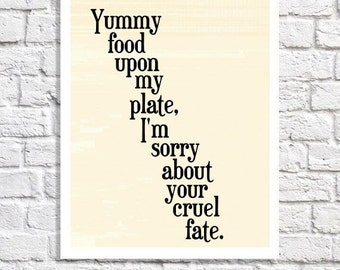Funny Kitchen Art Typographic Print Foodie Gift Idea Dining Room Quote Wall Decor Eating Artwork Food Mini Poster. Black Word Art Picture