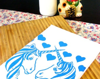 Unicorn Tea Towel Unicorns kitchen towels retro kitchen gifts under 10 dollars home decor -Screen Print Cute animal prints Hostess gift