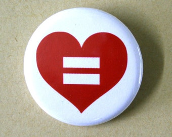 Equal Love Gay Marriage Equality Pinback Button Badge