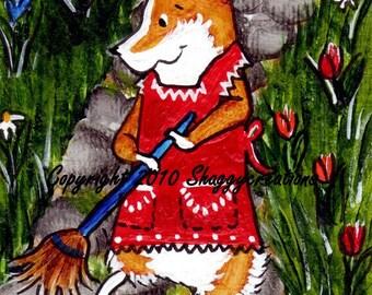 "PEMBROKE WELSH CORGI Art Print ~ Corgi Gardening Art Print ~ ""Down A Garden Path"" Original Dog Art ~ Gardeners Gift ~ Nursery Decor ~ Corgi"
