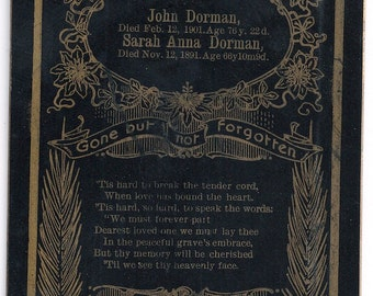 Double Memorial card for John and Sarah Dorman Pa. death mourning
