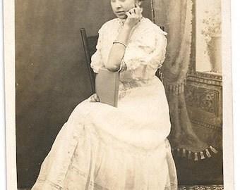 Lady book postcard image antique journal album white dress