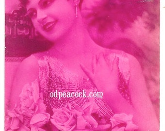 French flapper postcard pink birthday 20s woman tinted