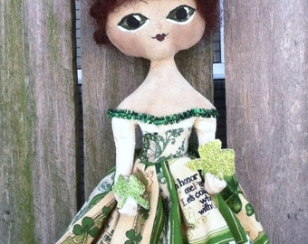 St. Patricks Day Doll Primitive Folk Art