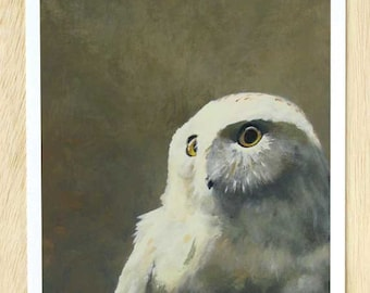 Sinister Acts To Which Only The Moon Bears Witness 11 x 14 Art Print - Owl - Bird - Snowy - Giclee - Gift - Animal - Nature
