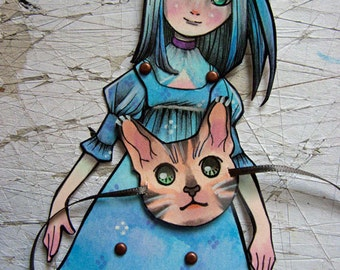 Jointed Articulated Paper Dolls - OOAK - Hand Painted - Folk Art - Paper Goods - Celeste
