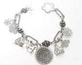 Silver Charm Bracelet, Horse Charm Bracelet , Silver Art Jewelry