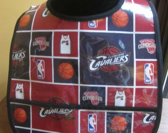 WATERPROOF WIPEABLE Baby to Toddler Plastic Coated Bib Cleveland Cavaliers