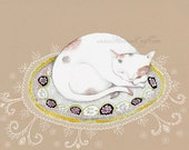 "Sleeping cat on rug and lace art print, ""Little Vous"""