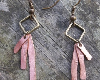 UPCYCLED hammered copper earrings