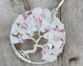 Cherry Blossom Necklace Rainbow Moonstone Wire Wrapped Tree of Life Pendant Pink Swarovski Crystal Sakura Jewelry Flower Wedding Necklace