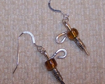 Amber Bead and Silver Wire Earrings