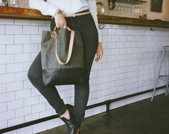 Leather and Canvas Tote, Waxed Canvas Tote, Leather Shopper, Canvas Market Tote, OLIVE Waxed Canvas Bag with BLACK Leather : The Doer