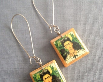 Frida Kahlo Print Scrabble Earrings - Repurposed Recycled - Frida with Monkeys jewelry - Repurposed - Upcycled Earrings