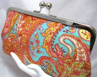 Coupon Organizer Cash Envelope System Tangerine Paisley on Aqua