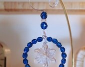 Swarovski Clear Snowflake Vintage #6743 Capri Blue Beaded Halo Hoop Ornament
