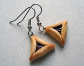 Hamantaschen Purim Cookie Earrings - polymer clay miniature food jewelry