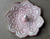 Ceramic  Lotus Ring Holder Bowl gold edged 3 1/4 inches  round Dusty Pink Rose color
