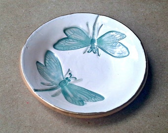 Teal Dragonfly small Ring Bowl