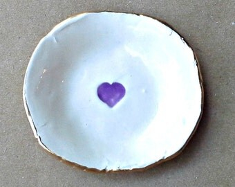 Ceramic  Ring Dish  OFF WHITE with purple heart edged in gold