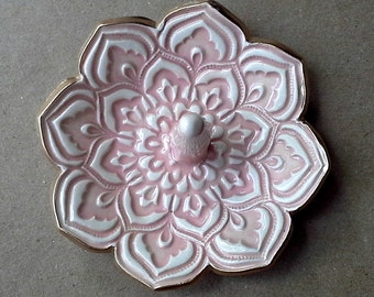 Ceramic  Lotus Ring Holder Bowl gold edged 3 1/4 inches round  pale Pink color