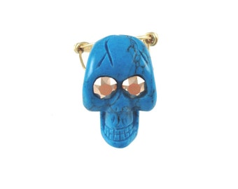 Skull Ring - Turquoise - Copper Swarovski Crystals