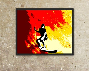 The Fire Surfer - Original Pop Art Print - 11x14 8x10 8.5x11