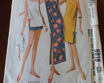 Vintage 60s McCalls 6818 Muu Muu Dress in Three Lengths and Shorts Sewing Pattern size 14 B34