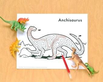 Printable Dinosaur Maze | Anchisaurus | Hand-Drawn Instant Download Activity For Kids