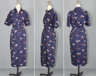 novelty print / vintage skirt / vintage blouse / AT THE RACES set