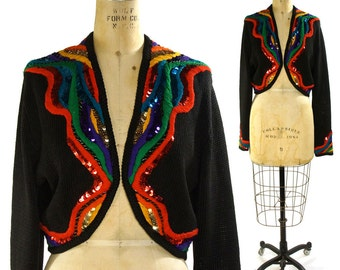 SALE Rainbow Sweater with Sequins & Embroidery / Vintage 1980s Novelty Cardigan / Glam Rocker