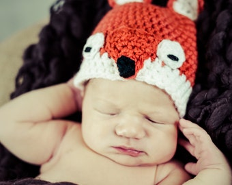 baby fox hat newborn photography prop