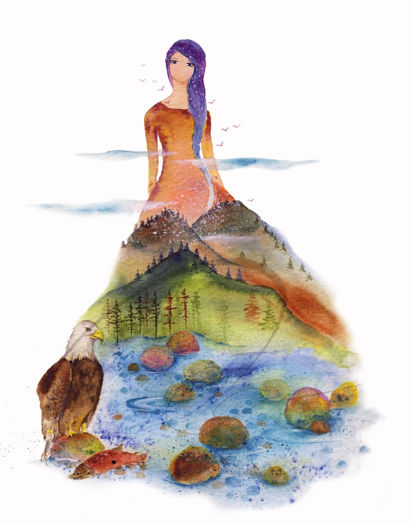 The Vale Watercolor Art Giclee Mountain Lady Print Available
