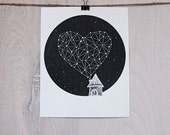 screenprint - STAR HEART - stargazing series, celestial print, modern illustration, night sky design, house with heart, heart of stars