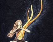 There was always a fire inside her, flame fire burn, halloween dark fall autumn,  Original Fabric on Wood panel