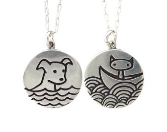 Swimming Dog Necklace - Boating Cat Necklace - Reversible Sterling Silver Cat and Dog Pendant or Medallion