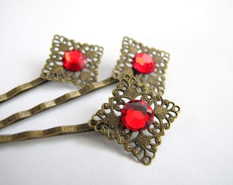 Simple Glamour - Ruby Red Swarovski Rhinestone Hair Pin in Antiqued Brass Finish. bridesmaid gifts, prom, everyday, Sold Individually