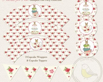 Friends for Tea Bunnies - Dessert Table Collection - Cake Bunting, Cupcake Wrappers & Toppers - PDF Instant Download