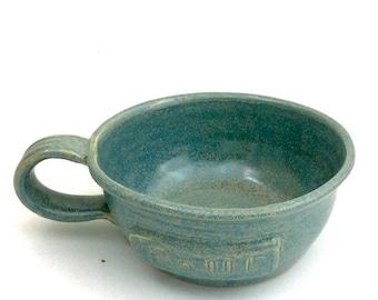 Ceramic Soup Mug Aqua Green Stoneware Clay Pottery Ready To Ship
