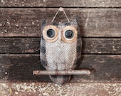 Primitive Owl Folk Art Ornie, Christmas Owl Ornament, Primitive Home Decor, Owl Ornament, Owl Soft Sculpture